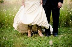 Bride with cowboy boots at Pine River Ranch