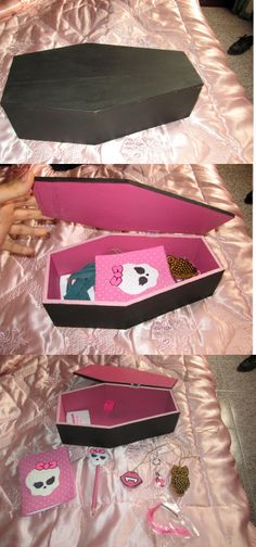 Monster High Coffin Box made by me with a litle notebook, a pencil, draculaura hair extencion and a draculaura lips necklace in wood! i made this for my sister, its a gr8 diy gift. diy last minute gift