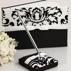 Weiß und Schwarz florish Hochzeit Gästebuch und Pen-Set