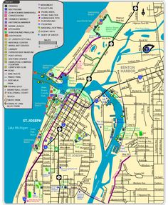 St. Joseph & Benton Harbor Area Map - shows bike paths, too