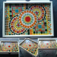 Mosaic Tray, Mosaic Tables, Trippy, Decoupage, Concrete, Coasters, Flora, Mandala, Pottery