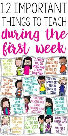 First grade classroom - 12 important things to teach during the first week Great discussion starters to build classroom community Motivational posters for the classroo m First Grade Classroom, Kindergarten Classroom, School Classroom, Future Classroom, Morning Meeting Kindergarten, Classroom Ideas, Morning Meeting Activities, Classroom Procedures, First Day Of School Activities Ks2