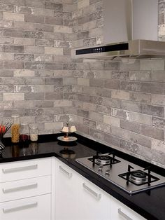 Norwall Wallcoverings Illusions 2 Swiss Brick Wallpaper Grey, Beige - The Savvy Decorator Kitchen Tiles Design, Kitchen Backsplash, Stone Backsplash, Tile Design, Backsplash Design, Backsplash Ideas, Home Decor Kitchen, Rustic Kitchen, Slate Kitchen