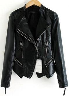 Fashionable Long Sleeve Zipper Fly Woman Jacket Black | martofchina.com