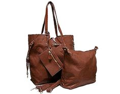 TALL BROWN 4 PIECE PART GENUINE LEATHER TOTE HANDBAG SET WITH INTERNAL BAG, PURSE AND LONG STRAP, £30.00