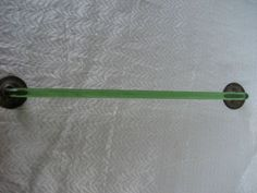 "Green Depression Glass Towel Bar with Original Brackets 15 1/2"" Long"