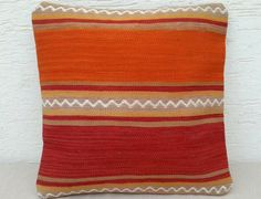 19x19 LARGE Striped Embroidered Orange Dyed Body by pillowsstore, $64.00