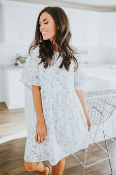 Fits true to size - loose fit around legs Model is + wearing a small Length of small: 37 Dress is fully lined Self: Polyester Cotton Lining: Polyester Spandex hand wash cold / hang dry Cotton Style, Cold Shoulder Dress, White Dress, Legs, Loose Fit, Model, How To Wear, Spandex, Dresses