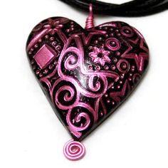 Foil heart polymer clay pendant in pink and black
