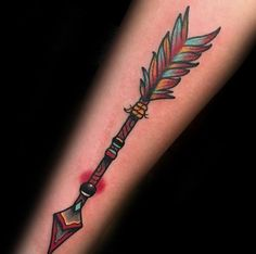Colorful Guys Traditional Arrow Forearm Tattoo