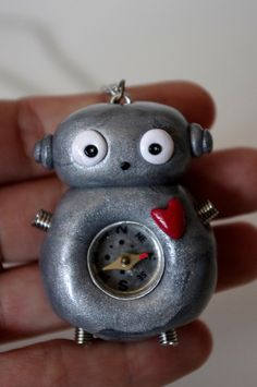 Silver Polymer Clay Compass Robot Necklace by Cyclop on Etsy, $18.00