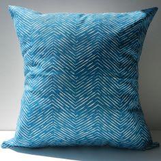New 18x18 inch Designer Handmade Pillow Case blue chevron pattern.