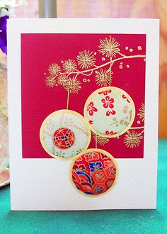 handmade card using the washi quilting technique ... from Hanko Designs gallery .... Asian theme ... red and gold ...
