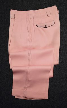 PINK with BLACK GABARDINE 1950's VINTAGE HOLLYWOOD STYLED DOUBLE PLEATED SLACKS - Available for sale at rpvintage.com.