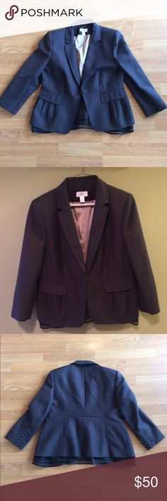 LOFT Blazer NWOT Dark gray Blazer with tulle bottom edge. Three quarter length sleeves. Beautiful and in perfect condition! LOFT Jackets & Coats Blazers