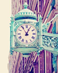 Chicago Art Print, Mint Green Clock Chicago Architecture Chicago Photography, Vintage Chicago Urban Wall Decor ON SALE Mint Green Clock Chicago Architecture Photograph, Vintage Pastels, Urban Home Decor Photo - Telling Time Urban Home Decor, Green Clocks, Pastel Home Decor, Chicago Art, Chicago Illinois, Pastel House, Paris Decor, Chicago Photography, Office Wall Art