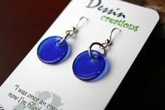 Blue Wine Bottle Earrings Recycled Glass