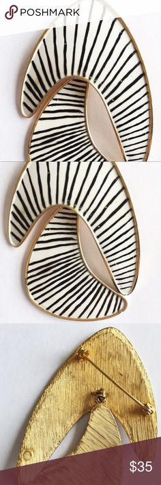 """Vintage Black White and Gold 1950's Enamel Brooch 1950's unique!   Cool kinetic two piece brooch.   Moves when you wear it.   Black and white enamel with gold.   One of a kind.  3""""L x 0""""H x 2.25""""W Vintage Jewelry Brooches"""