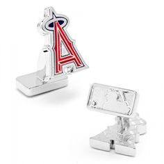 MLB Mens Palladium Los Angeles Angels Cufflinks with Collectible Gift Box