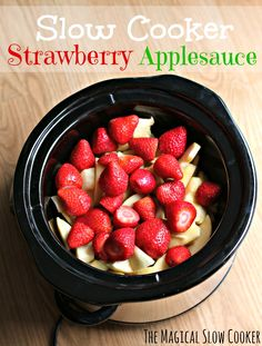 Slow Cooker Strawberry Applesauce - The Magical Slow Cooker. The Magical Slow Cooker. Since I don't eat sugar I would add stevia. I see potential to adapt this into other ideas too! Crock Pot Food, Crock Pot Desserts, Crock Pot Slow Cooker, Slow Cooker Recipes, Crockpot Recipes, Cooking Recipes, Crock Pots, Crockpot Dishes, Strawberry Recipes