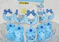 Blue Wooden Baby Shower Card Holder Pot with Baby Bib party favors(12 Pieces) -- Awesome products selected by Anna Churchill