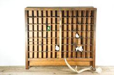 Vintage Typeset Drawer // Divided Wooden Display Shelf