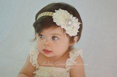 Ivory Holiday headband, baby headband, shabby chic, newborn headband, infant headbands, christmas headband, baby hair bow, baby accessories,