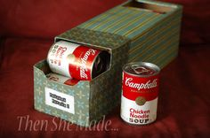 I don't like stacking my cans.  They never stay orderly.  They always fall over.  Or they get pushed to the back of the cupboard and I forget what I have and it BUGS me.  Use soda pop container, cover with decorative paper, and you are done.