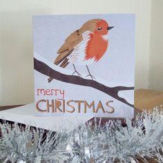 Robin Illustrated Christmas Card £3.00 https://www.etsy.com/listing/87668567/robin-illustrated-christmas-card #robin #christmas