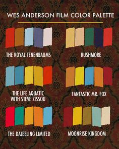 Wes Anderson Film Color Palette Chart    In anticipation of Moonrise Kingdom, designer Beth Mathews created the Wes Anderson Film Color Palette, a chart of the color treatments used in Anderson's past six films. She notes that the filmmaker is true to his brand in every film.
