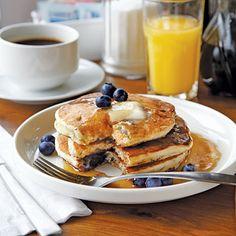 Peach and Blueberry Pancakes - MyRecipes