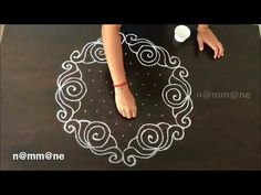 Beautiful Chukki Rangoli Design || Kolam with dots - YouTube Indian Rangoli Designs, Rangoli Designs Latest, Rangoli Designs Flower, Rangoli Border Designs, Rangoli Patterns, Rangoli Designs Images, Rangoli Ideas, Rangoli Designs With Dots, Kolam Rangoli