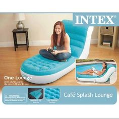 Intex Inflatable Splash Cafe Lounge Chair With Backrest   Aqua Blue |  68880EP