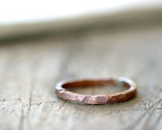 Simple hammered copper ring organic shaped by monkeysalwayslook