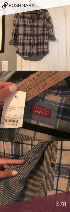 NWT JACHS Girlfriend Plaid Button Up Plaid button up from Von Maur, NWT. Blue plaid with striped detailing inside. Jachs Tops Button Down Shirts