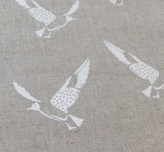 Printed Linen Fabric with Bird pattern by Ada & Ina Bird Patterns, White Patterns, Fabric Patterns, Rustic Fabric, Linen Fabric, Boho Nursery, Fabric Birds, Printed Linen, Curtains With Blinds