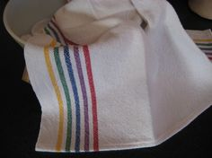 Handwoven rainbow kitchen towel