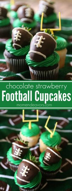 These Football Cupcakes are the perfect game day dessert for tailgating or a football party - easy cupcakes topped with chocolate covered strawberry footballs! Football Desserts, Football Cupcakes, Fun Cupcakes, Cupcake Cakes, Cupcake Ideas, Football Football, Football Season, Funny Football, Football Birthday