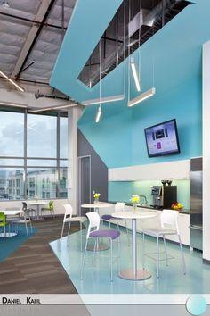 Projetada pelo RMW Architecture and Interiors, esta copa mescla formas geométricas com cores alegres, bem diferente dos escritórios comuns. Um ambiente alegre e descontraído.