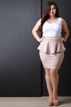 Peplum pencil cut mini skirt plus size skirts, plus size peplum, tren Plus Size Pencil Skirt, Plus Size Mini Dresses, Plus Size Peplum, Plus Size Skirts, Plus Size Outfits, Trendy Outfits, Pencil Skirts, Girls Formal Dresses, Short Dresses