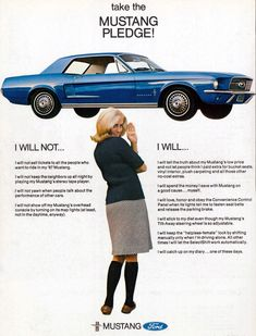 Old Mustang advertisement: The Mustang Pledge