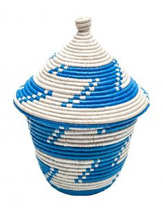 Blue Businje Basket Recycled Plastic Bags: Show off this recycled basket and know that you are providing trade skill training and health education for women in Uganda.