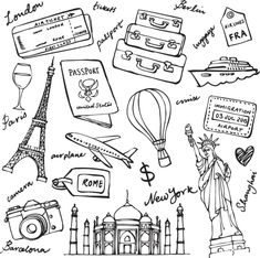 Find Travel theme doodle vector set grunge background stock vectors and royalty free photos in HD. Explore millions of stock photos, images, illustrations, and vectors in the Shutterstock creative collection. of new pictures added daily. Doodle Drawings, Doodle Art, Doodle Images, Grunge, Doodle Pattern, Travel Clipart, Travel Doodles, Bullet Journal Travel, Travel Journals