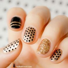 dots and stripes, black and gold, glitter!
