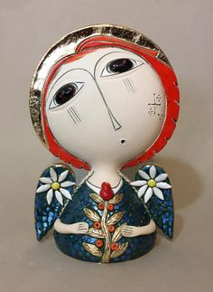 Ceramic art by Aram Hunanyan - Ego - AlterEgo Clay Christmas Decorations, Armenian Culture, Cultural Crafts, Paper Mache Clay, Ceramic Angels, Naive Art, Angel Art, Ceramic Clay, Ceramic Artists