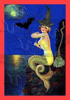 pinup mermaids PHM1 Halloween Pinup MermaidCotton Print by wwwvintagemermaidcom, $7.00