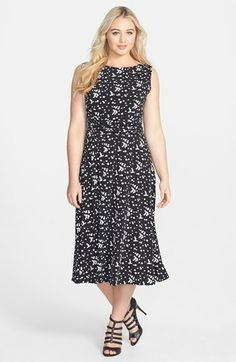 Jessica Howard Print Ruched Waist Stretch Knit Midi Dress (Plus Size) available at #Nordstrom