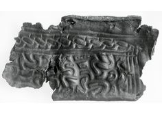 The fragment of leather on which the facsimiles of the Hexham Anglo-Saxon sheath and scramaseax were based. Currently in the British Museum.