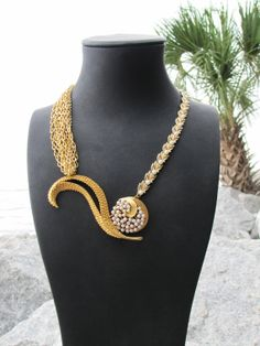 One of a Kind Gold Swirl Vintage Statement Necklace by Zedoary, $162.00