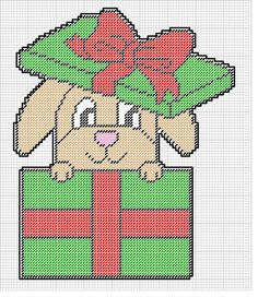 BUNNY IN A CHRISTMAS PRESENT WH by KATHY